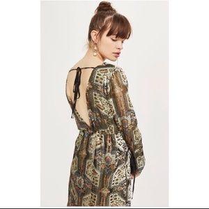 Topshop Dresses - Topshop Metallic Devore Plunge Neck Dress